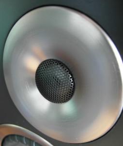 Tytanowa kopułka chroniona jest metalową siateczką. Wokół niej aluminiowy pierścień
