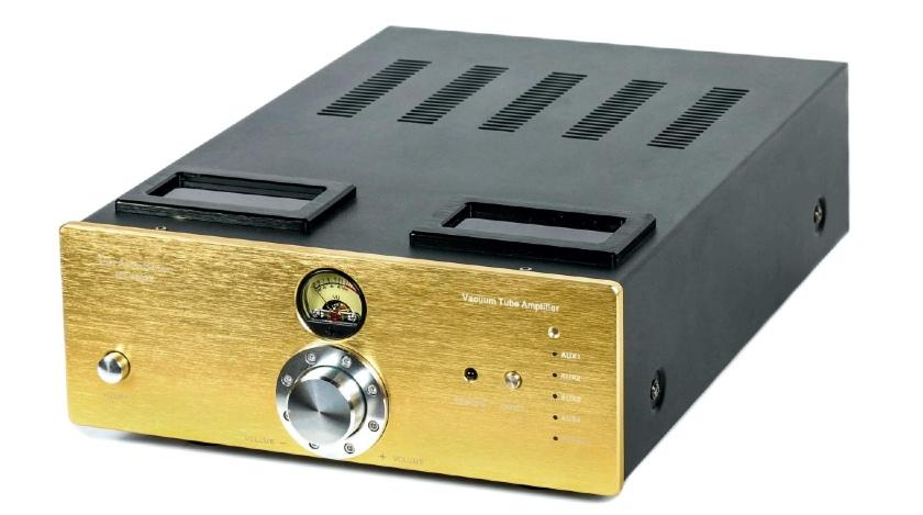 Test Pier Audio MS-480 SE. Wzmacniacz można zamówić ze złotym frontem (fot. Pier Audio)